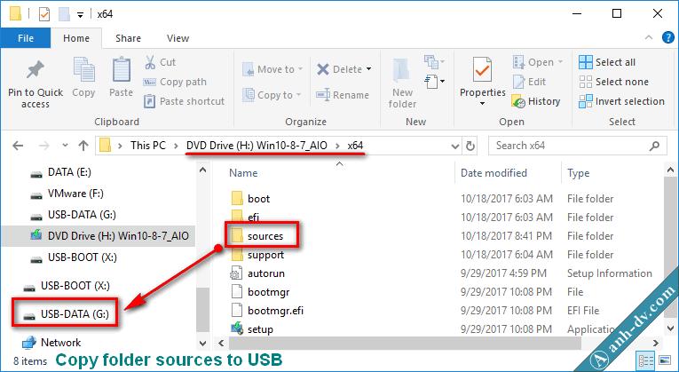 Copy bộ cài Win tới USB Anhdv Boot