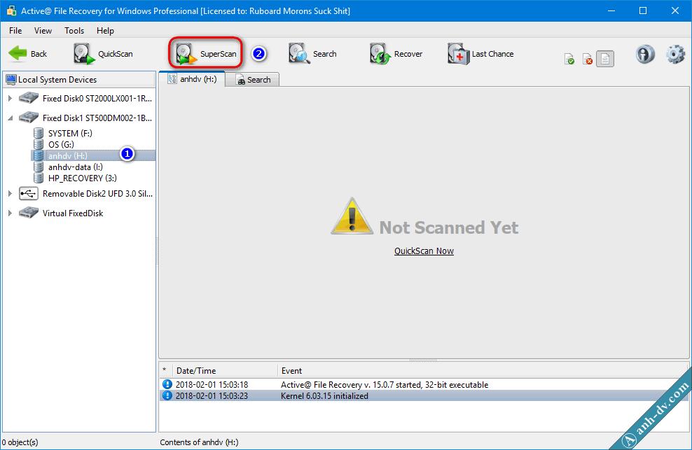 Khôi phục dữ liệu bị mất do format nhầm với Active File Recovery 1
