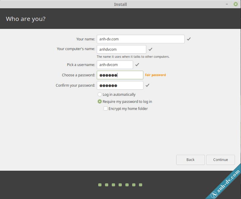 Tạo tài khoản khi cài đặt Linux Mint