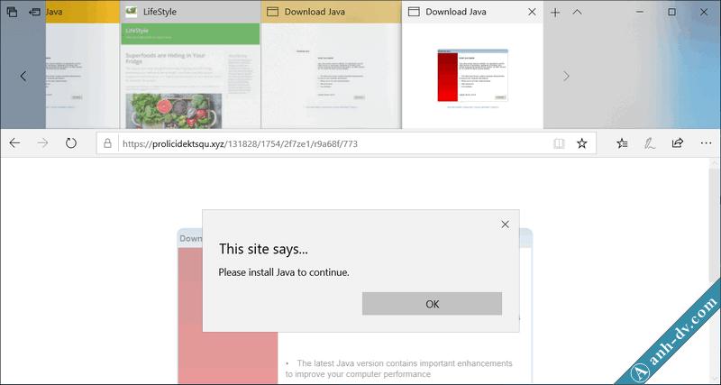 Virus quảng cáo trên trình duyệt Microsoft Edge