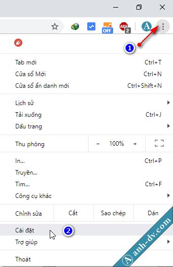 Reset mặc định cho trình duyệt Chrome 1