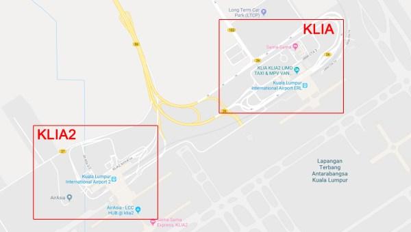Vị trí sân bay KLIA và KLIA2