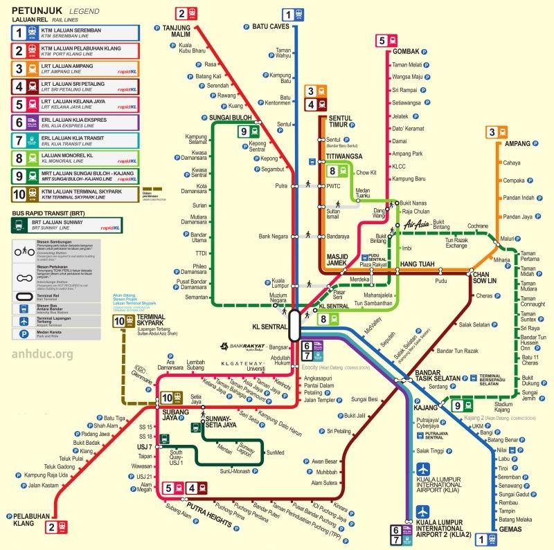 Bản đồ tàu điện Kuala Lumpua