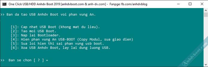 Tạo usb boot với 1 click Anhdv Boot - tùy chọn tính năng
