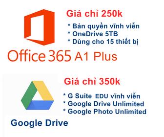 Tài khoản Office 365 A1 Plus và Google Drive Unlimited