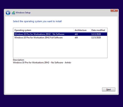 Windows 10 Pro for Worksations 20H2 Premium lựa chọn khi cài