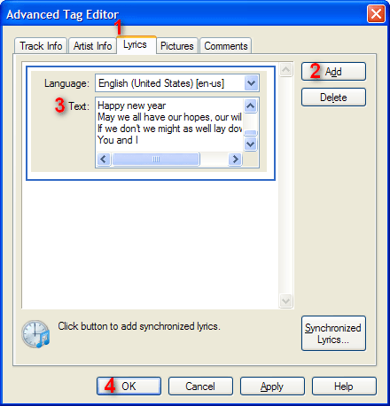Đưa lời vào bài hát trong Windows Media Player 11