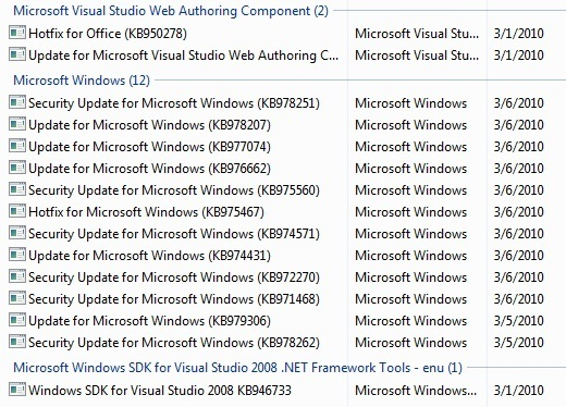 WindowsUpdateList