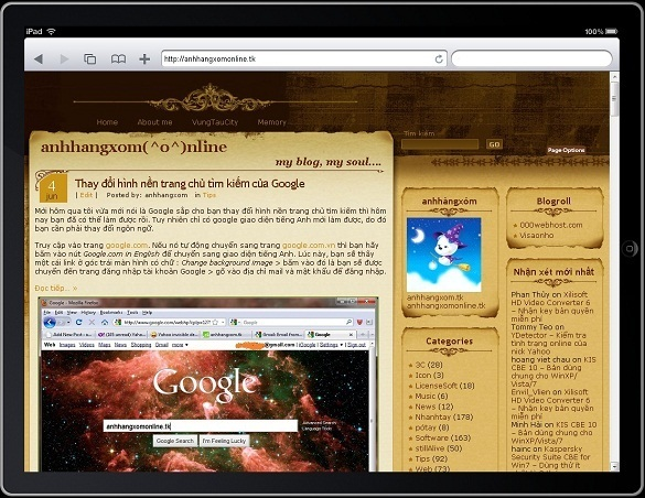 ipadpeek.com - hien thi trang web tren iPad