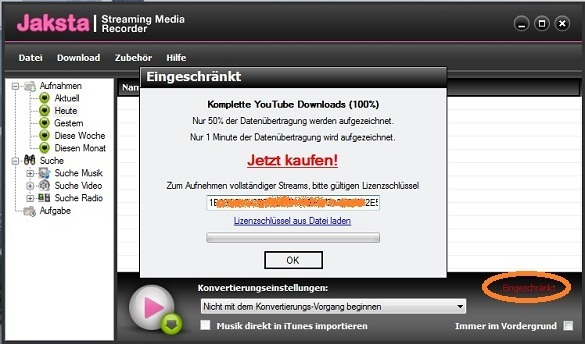 Jaksta Streaming Media Recoder