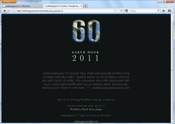 Earth Hour WordPress plugin