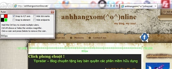 Đo kích thước các thành phần trong website với IE