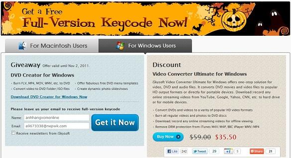iSkysoft DVD Creator - Nhận key bản quyền miễn phí