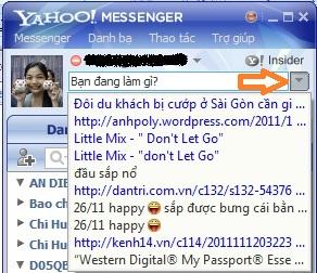 Xoá các dòng status đã lưu của Yahoo!Messenger