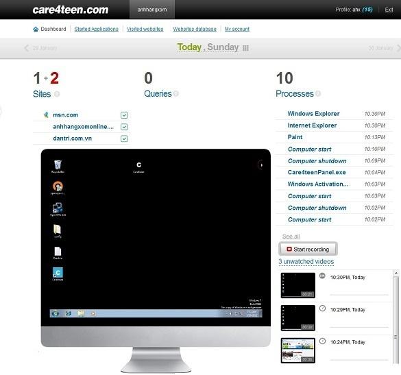 Care4Teen - Theo dõi máy tính từ xa qua Internet