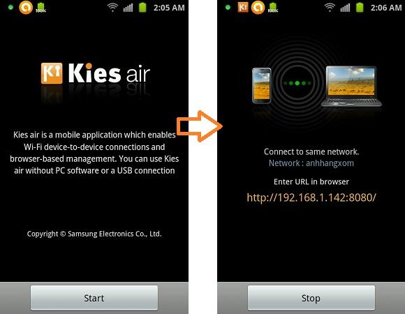 Kies Air - Truy cập điện thoại qua sóng wifi