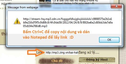 Lấy link nhạc chất lượng 320Kbps tại mp3.zing.vn