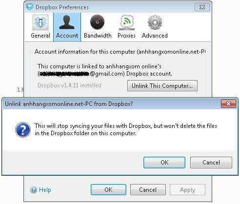 Cài lại Dropbox mà không phải đồng bộ dữ liệu từ đầu