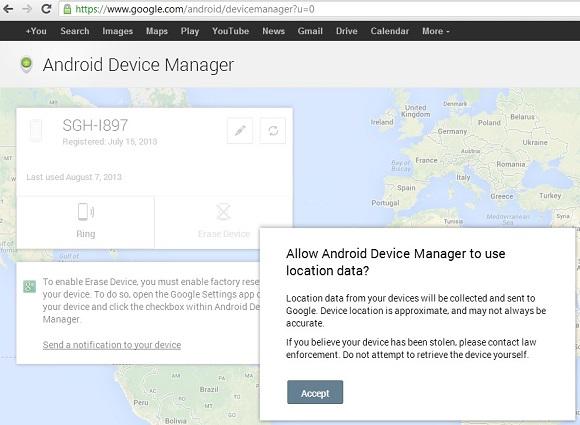 Android Device Manager - Tính năng tìm kiếm và định vị cho điện thoại Android
