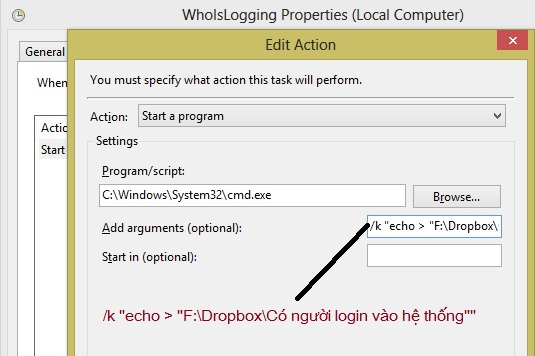Nhận thông báo khi có ai đó đang làm gì đó với máy tính
