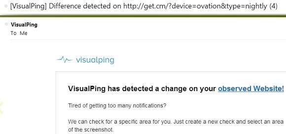 Visualping - Thông báo sự thay đổi trên một website
