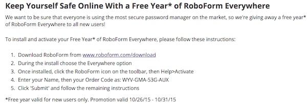 RoboForm EveryWhere free 1 year license key