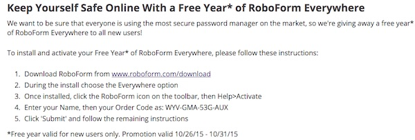 RoboForm EveryWhere free 1 year license key