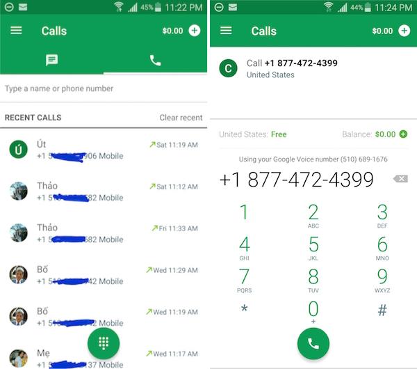 Gọi điện thoại qua Mỹ miễn phí với Google Hangout & Dialers