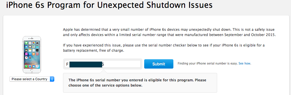 iPhone 6s Program for Unexpected Shutdown Issues