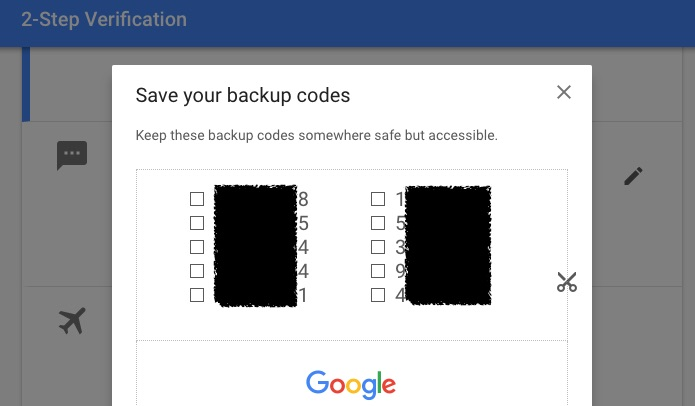 Google Save your backup code