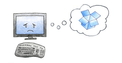 Sad computer, thinking about Dropbox