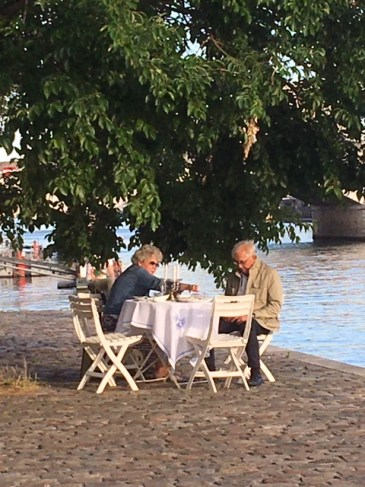 Dining by the Seine near the Bastille, July