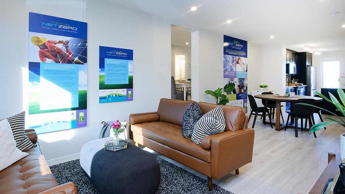 Avalon Master Builder net zero showhome. Living room