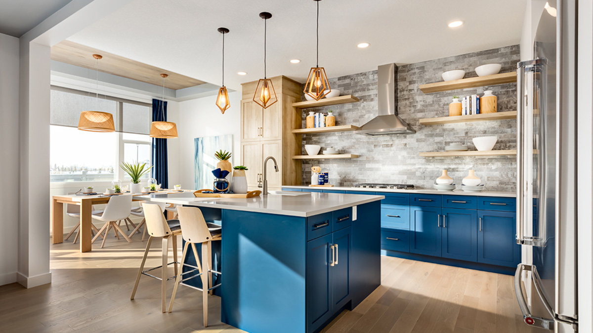 Homes by Avi kitchen with cobalt blue cabinetry.