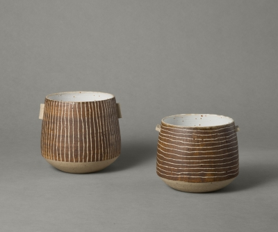 large stripy vessels