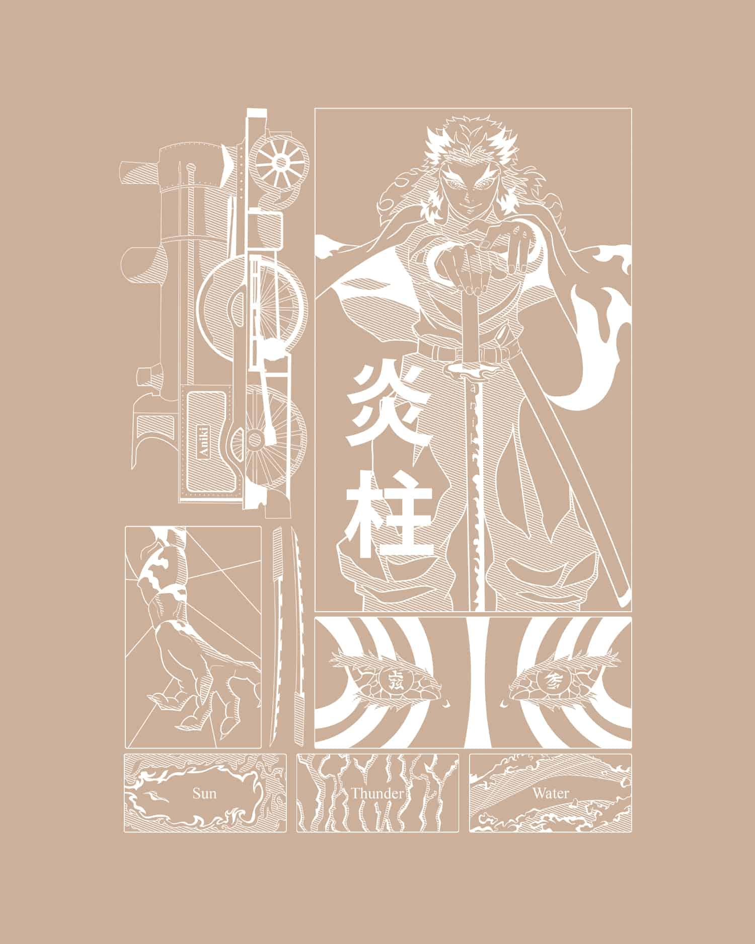 marque vêtement manga anime sweat à capuche nude demon slayer nezuko pilier train de l'infini rengoku