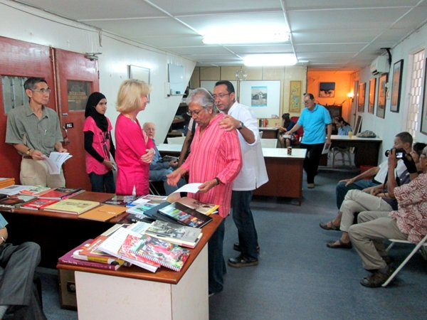Cecil Rajendra at the opening of his reading room in Penang