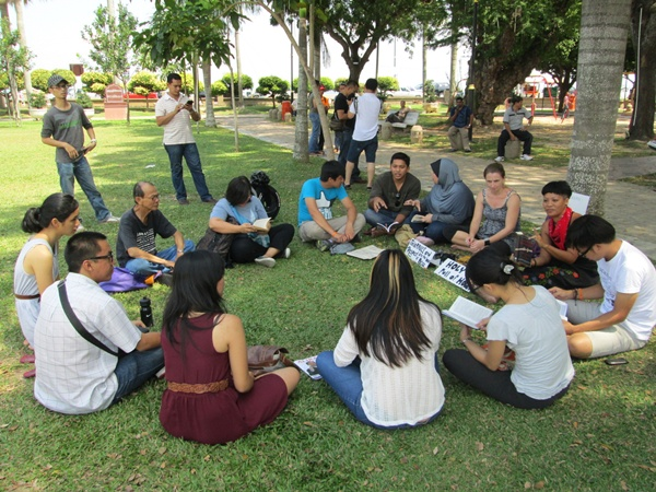"Noon - About a dozen young people turned up for ""Reading, not Burning: A festival"""