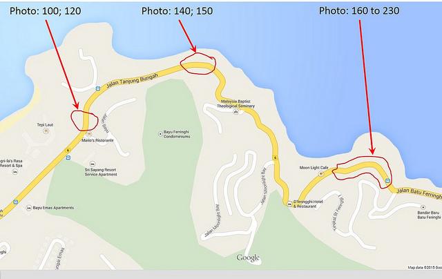 Batu Ferringhi Road showing affected stretches
