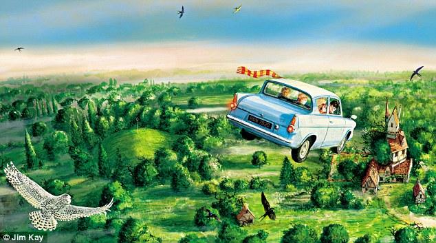 O Ford Anglia voador utilizado por Harry Potter e Rony Weasley para chegar a Hogwarts em Câmara Secreta