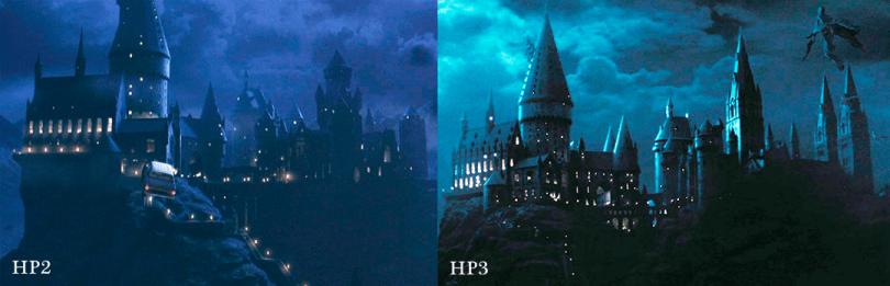 Montagem com duas capturas de tela. Uma de Pedra Filosofal e outra de Prisioneiro de Azkaban, que mostram a mudança nas torres.