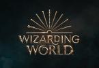 Novo logo da franquia Wizarding World. Em tons cobreados, vemos, acima do lettering, diversas varinhas de personagens famosos da série.