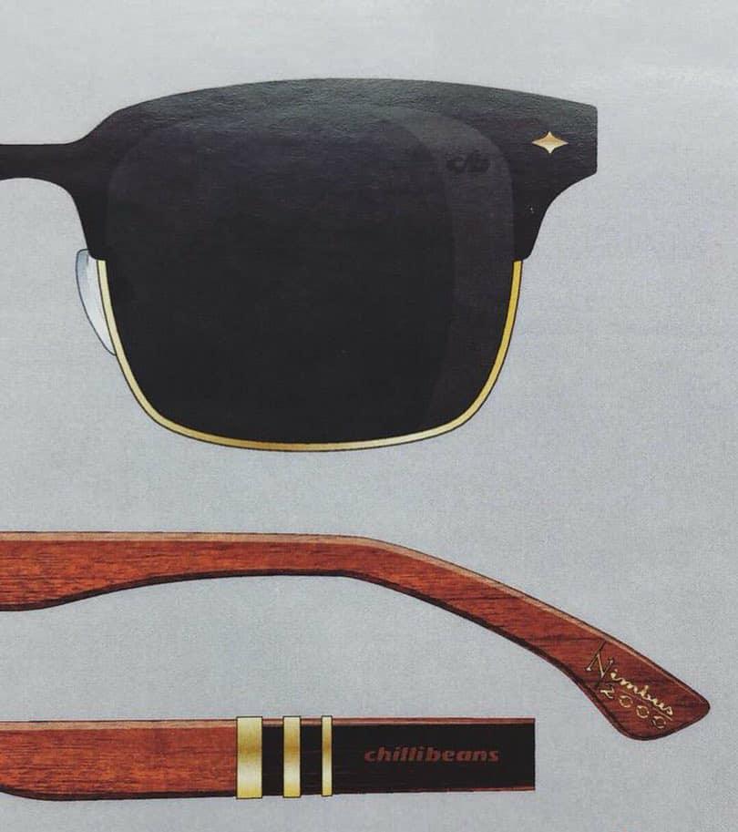 Modelo de óculos escuros. Descrição abaixo.