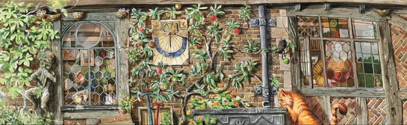 A Toca vista de fora da janela da cozinha. Na parede de tijolinhos, há uma árvore onde alguns gnomos de jardim se penduram. O gato de Hermione observa as criaturas. Pela janela, é possível ver a sra. Weasley.