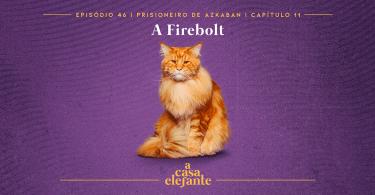 Fundo roxo com textura envelhecida. Em cima há informações sobre o episódio, e na parte inferior, o logo do podcast em amarelo. Em destaque, um gato laranja, o bichento.