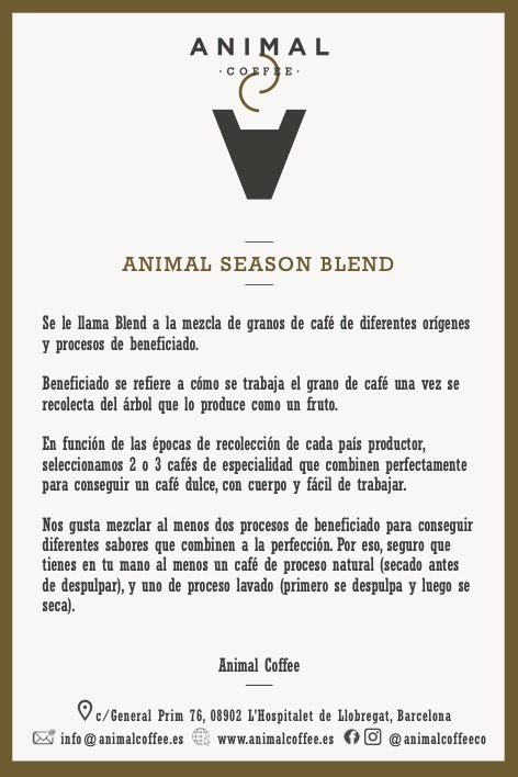 Café expreso Animal Season Blend Cafe Especialidad