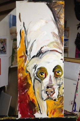 """Shelter Me: Hope"", Acrylic on canvas (in progress), 16"" x 30"", 2012 $480"