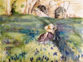 """Among the Blue Bells,"" watercolor on paper. 9"" x 12"", 2013 $100"
