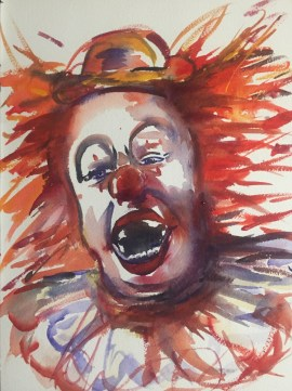 """The Original Dangerous Clown"" watercolor on paper, 9"" x 12"", SOLD"