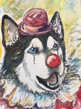 """The Original Clown Dog"" watercolor on paper, 9"" x 12"", SOLD"
